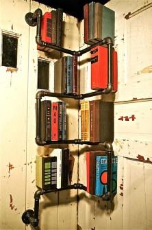Corner Industrial bookshelves
