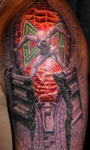 3d biomech alien tattoo