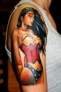wonderwoman pin up tattoo-t70942