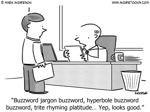 Cartoon illustrating how words are used particularly in essays