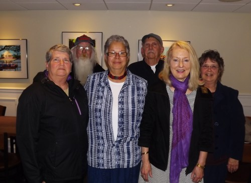Photo by Dotty LeCates 1st row left to right: Joanne Haynes, Chief Carmine, Nancy Cabrera-Santos (IBF President), Frances Hart (IBF Secretary) 2nd row left to right: Kenneth Haynes, Chuck Schonder (President, Friends of Holts Landing)