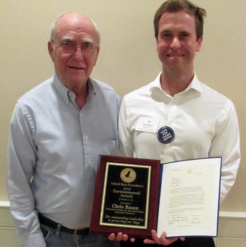 Chris Bason, Exec Dir. DE Center for the Inland Bays, and our award winner. He is pictured with his father, Clem Bason.