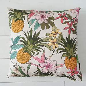 Tropical Pineapple White - Art Print Cushion
