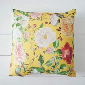 Yellow Floral Cushion - RHS Royal Horticultural Society