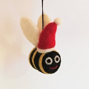 Felt Bumble Bee with Santa Hat Christmas Decoration