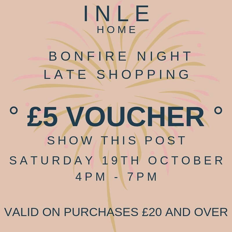 🔥Can't wait for next weekend!🔥Come and join us for some treats – including £5 off purchases £20 and over between 4pm and 7pm! . 👆Show this voucher to redeem