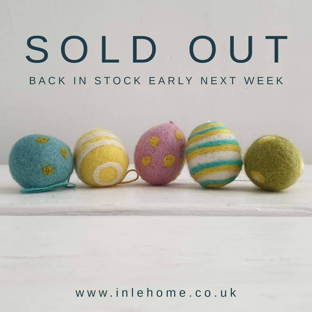 💙 Thank you so much for your support! These gorgeous felt eggs will be back early next week, just in time for Easter. In the meantime there's lots more lovely Easter gifts at www.inlehome.co.uk