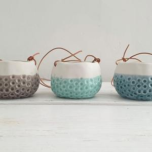 trio of baby dotty hanging pots