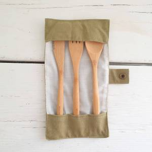 Bamboo Cutlery Set with canvas case