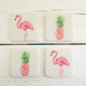 Flamingo/Pineapple Coasters by Gisela Graham