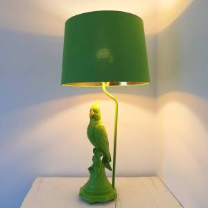 Matt Green Parrot Table Lamp with Metallic Lined Shade