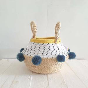 Grey Pom Pom Rope Basket by House of Disaster