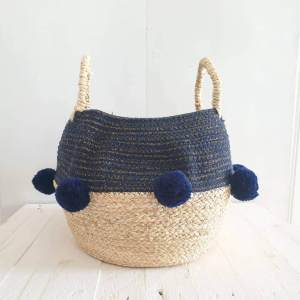 Blue Pom Pom Rope Basket by House of Disaster
