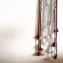Silver and Wine Macrame Hanging - I