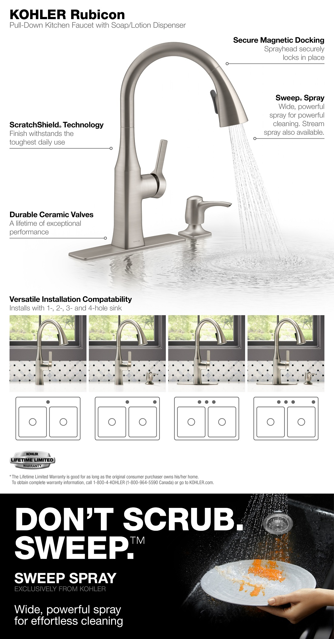 rubicon single handle pull down sprayer kitchen faucet in vibrant stainless