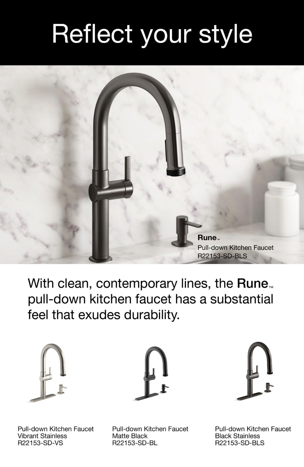 rune single handle pull down sprayer kitchen faucet in matte black