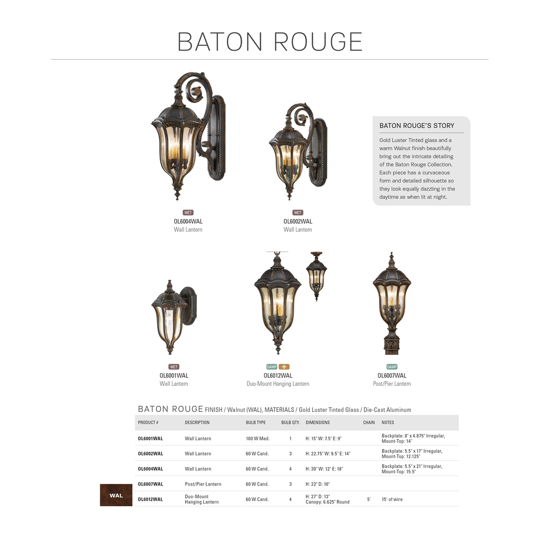 Feiss Baton Rouge 3 Light Walnut Outdoor Post Ol Wal