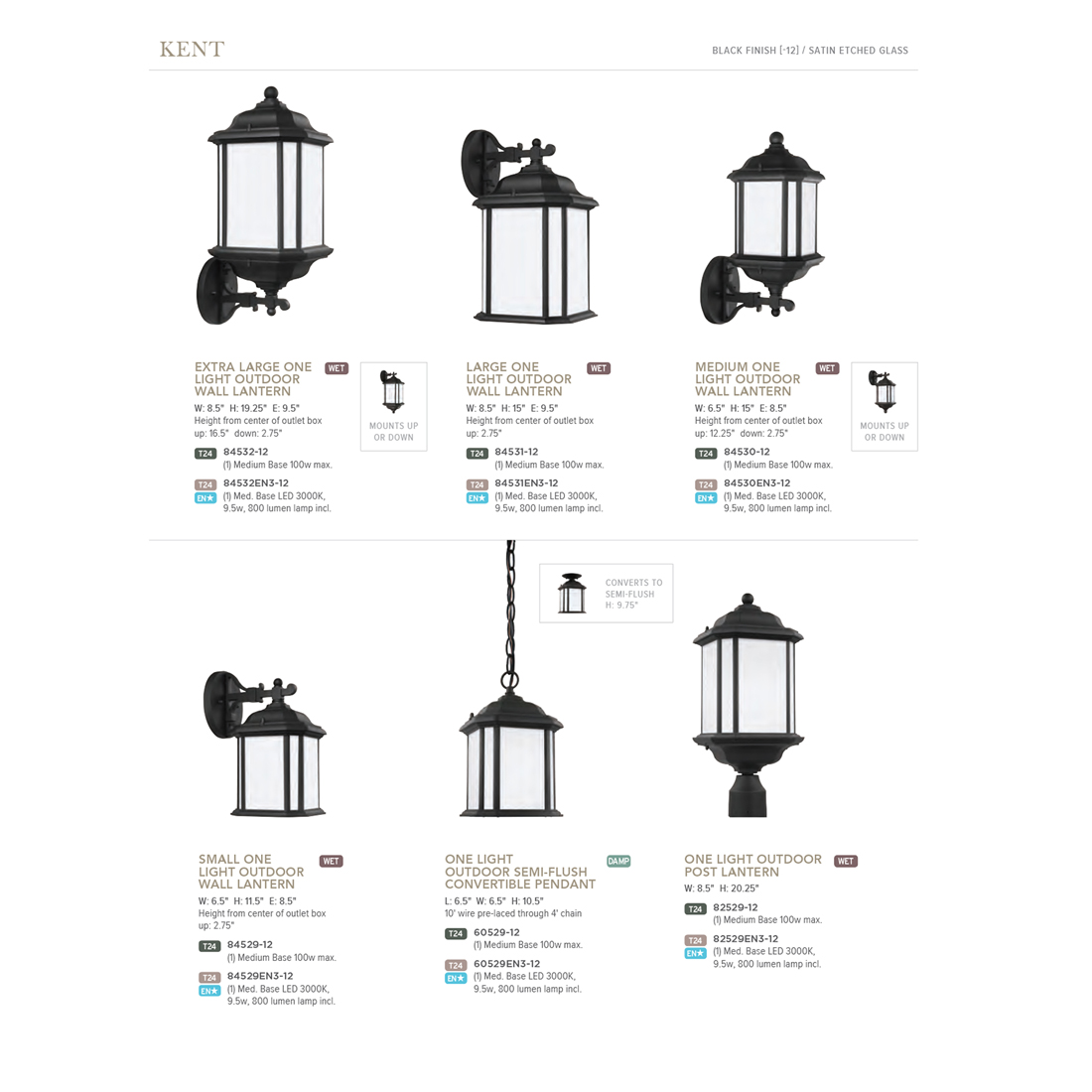 Sea Gull Lighting Kent 1 Light Outdoor Black Post Light With Led Bulb En3 12