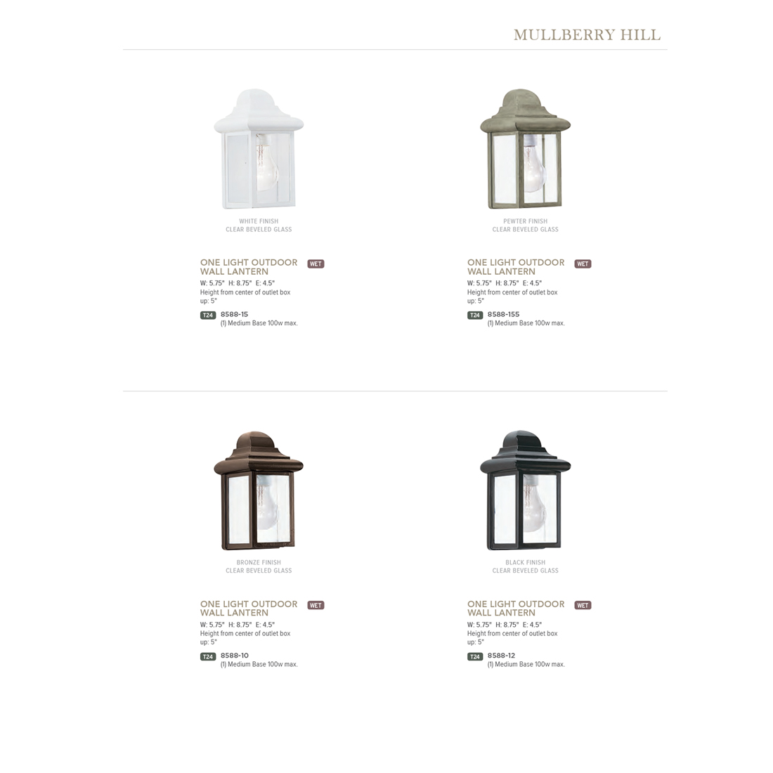 Sea Gull Lighting Mullberry Hill 1 Light Bronze Outdoor