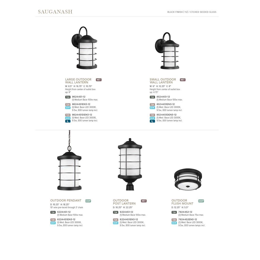 Sea Gull Lighting Sauganash Black 2 Light Outdoor Flush