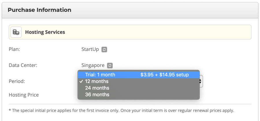 SiteGround billing options