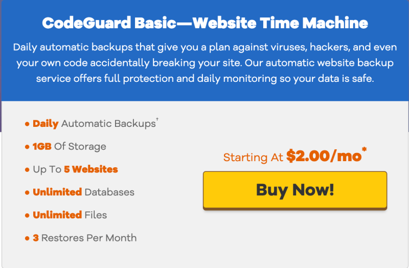HostGator Backup plans