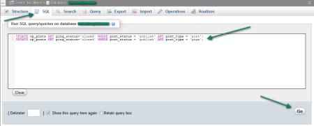 Отключаем trackback в phpMyadmin