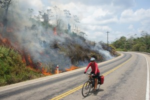 Not super happy riding by the slash and burn fires...