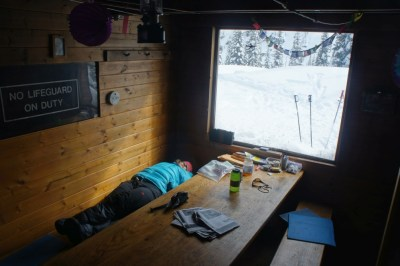 Nap time at the hut