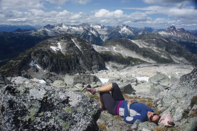 Maya, taking a nap on the summit of Tszil Mountain