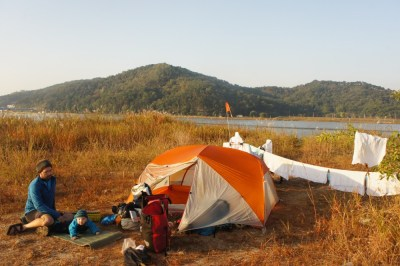 Camping by the river and drying daipers