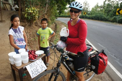 A lot of interaction with locals while cycling, El Salvador