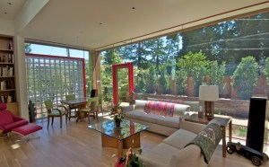 Living room, Nosler house in Menlo Park