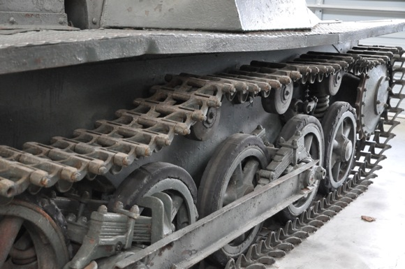 close up of tank wheels, Military Vehicle Technology Foundation