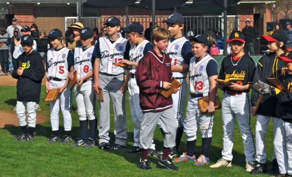 12 years olds playing for last season at Menlo Atherton Little League opening day