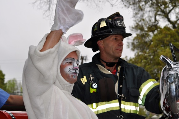 Easter bunny arrives on fire truck