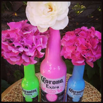 painted Corono bottles