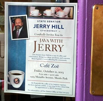 Sen. Jerry Hill breakfast poster