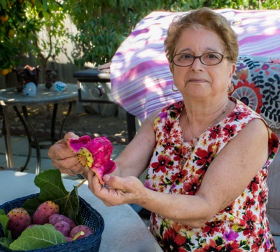 Connie Pasqua with cactus fruit