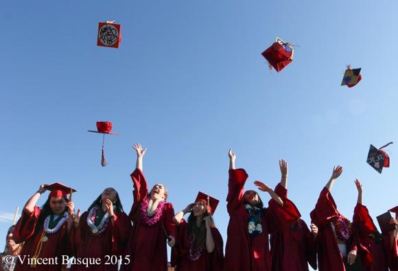 RISD grad hat in air