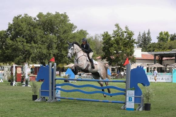 Menlo horse show_white horse jumping