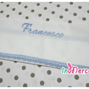 Asciugamano in cotone con merletto e ricamo