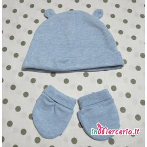 Cuffia e guanti celesti per neonato