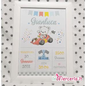 Poster quadretto nascita con topolino su macchina