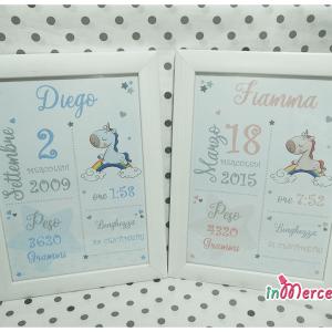 Poster quadretto nascita con unicorno