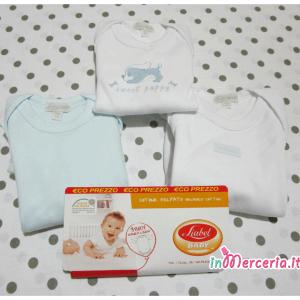 Set 3 Body manica lunga in cotone felpato per neonato TG. 9 mesi