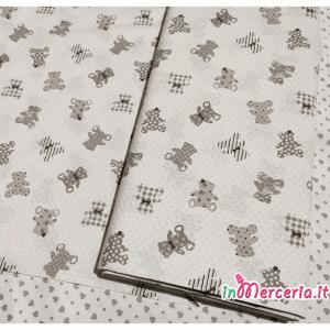 Tessuto cotone con orsetti grigio
