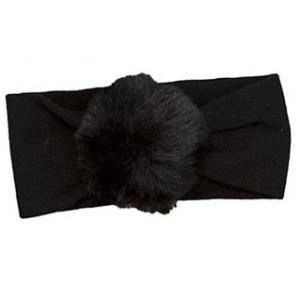 Fascetta nera per capelli neonato con pon pon peloso