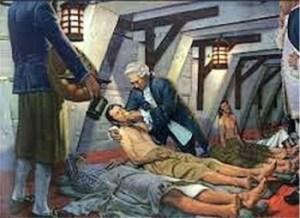 Deze man had scheurbuik en kreeg bezoek van de arts. Hierna werd hij verzorgd door de ziekentrooster.