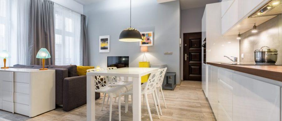 Cocina abierta con salón y comedor en mismo espacio.